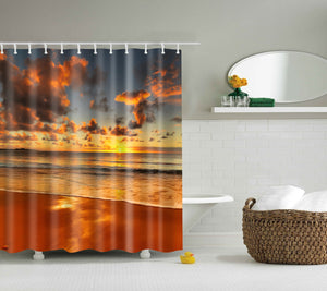 Beach Sunset Patterned  Shower Curtain