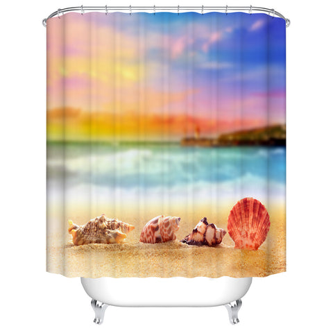 Beautiful Seashell with Conch at Sandy Beach with Sunset View Shower Curtain