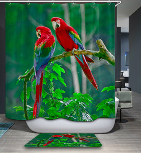 Beautiful Birds Parrot On Tree Shower Curtain | GoJeek