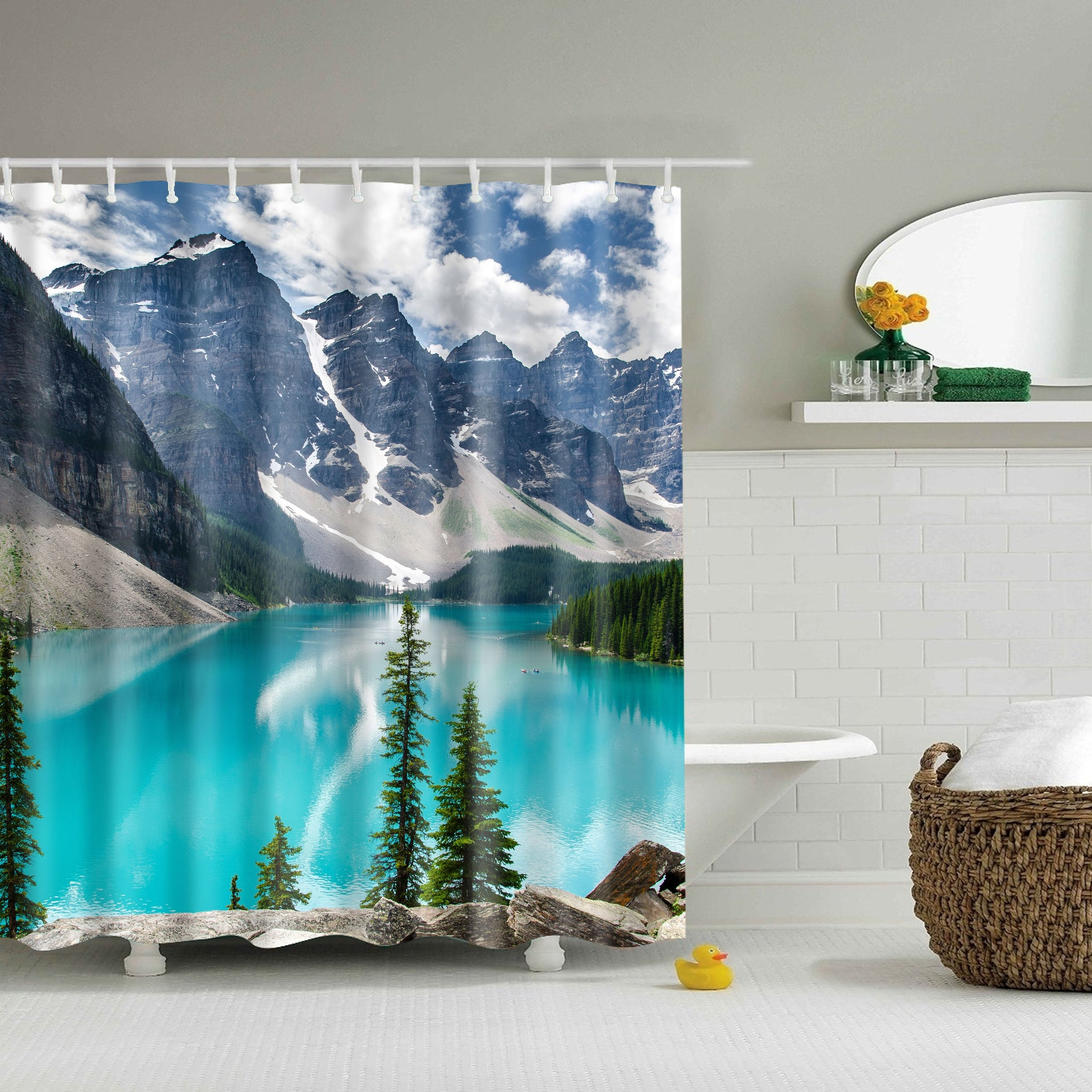 Beautiful Nature Mountain Lake Themed Shower Curtain | GoJeek