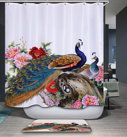 Beautiful Painting Flowers with Couple Peacock Shower Curtain