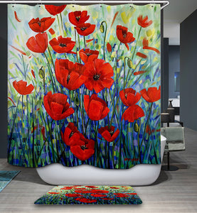 Beautiful Red Poppies Painting Shower Curtain