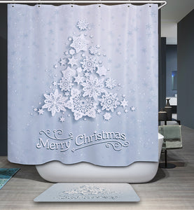 Beautiful Snowflake Decorated Christmas Tree Shower Curtain