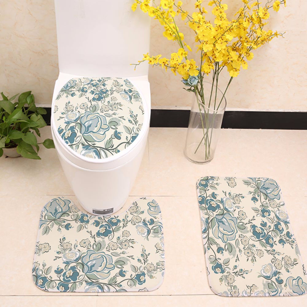 Beautiful Turquoise Rose Floral Toilet Seat Cover