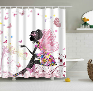 Beautimus Girly Fairy Butterfly Shower Curtain Colorful Bath Curtains | GoJeek