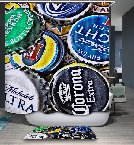 Beer Bottle Cap Collection Shower Curtain