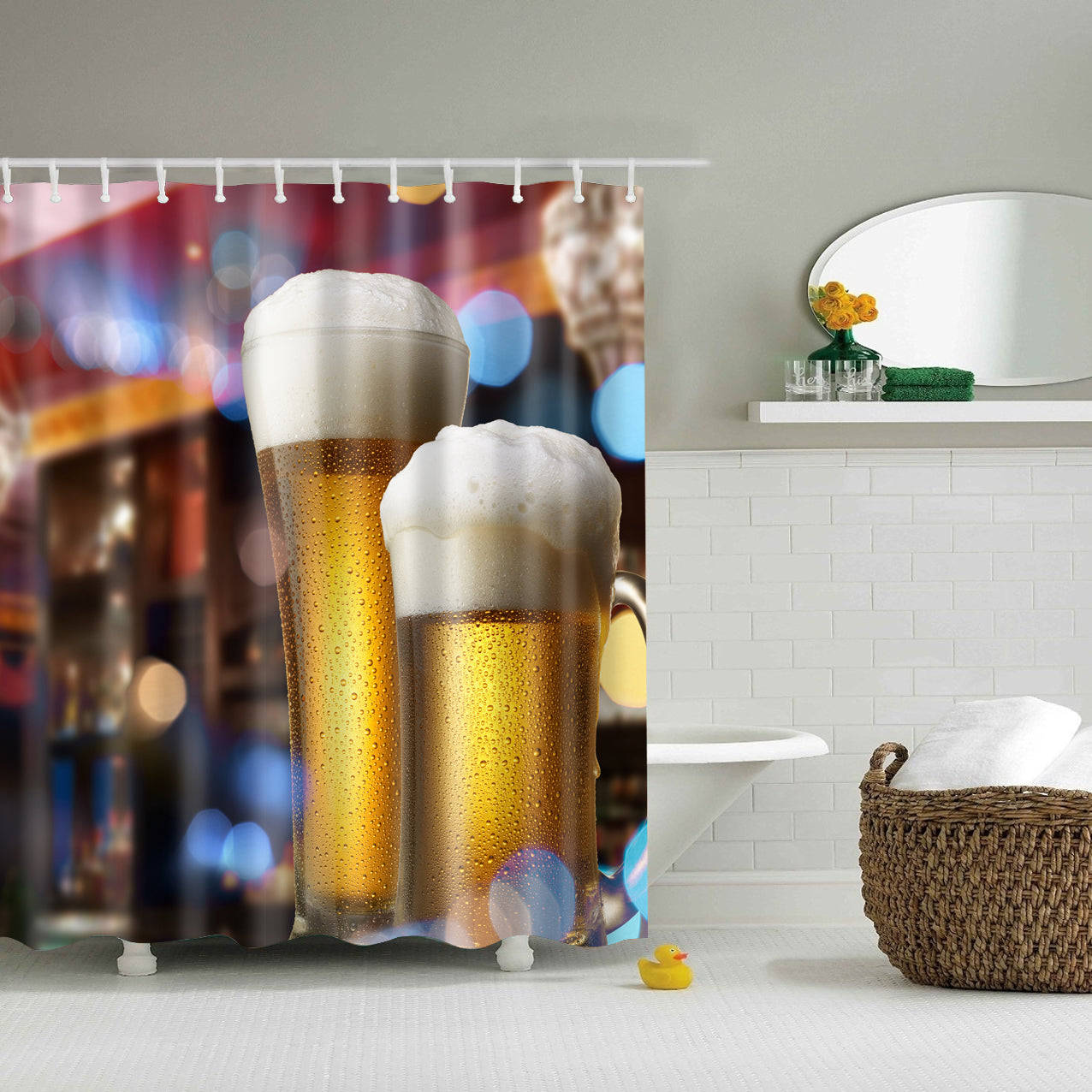 Beer in Bar Print Shower Curtain