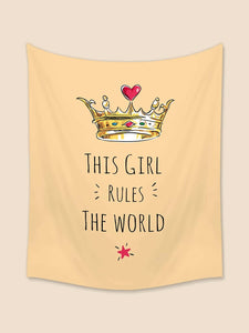 Beige Backdrop Girly Quote with Crown Tapestry
