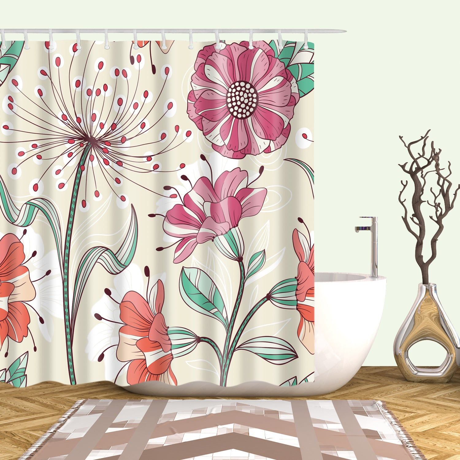 Beige Blooming Colorful Floral Shower Curtain