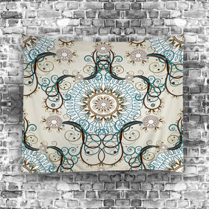 Beige Seamless Royal Floral Pattern Tapestry
