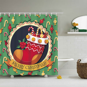 Big Christmas Sock with Xmas Gifts Shower Curtain