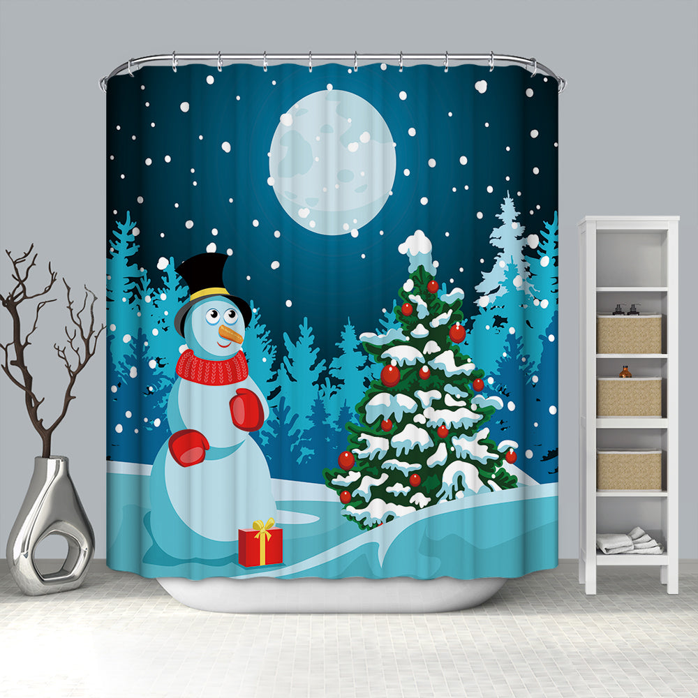 Big Moon Night Snowman with Tree Shower Curtain