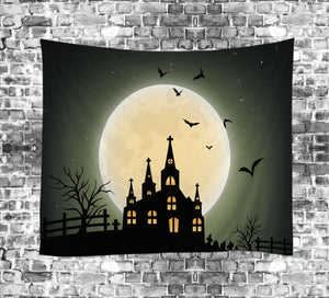 Big Moon Scary Castle Halloween Tapestry