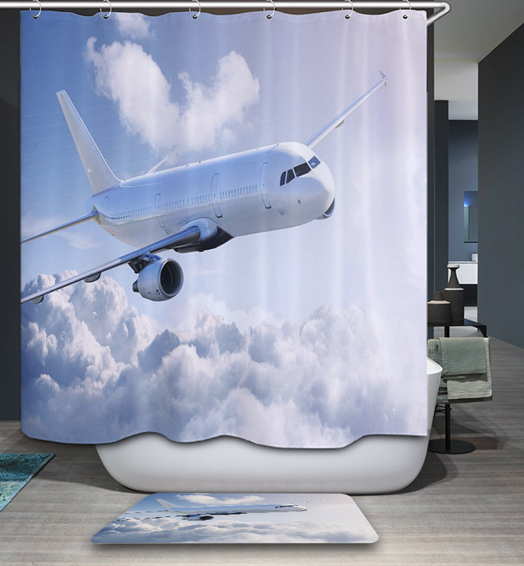 Big Sky Airplane Shower Curtain