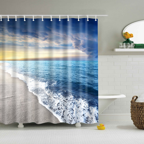 Big Sky Deep Blue Beach Shower Curtain | GoJeek