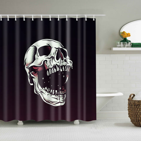 Black Backdrop Opening Mouth Skeleton Skull Shower Curtain