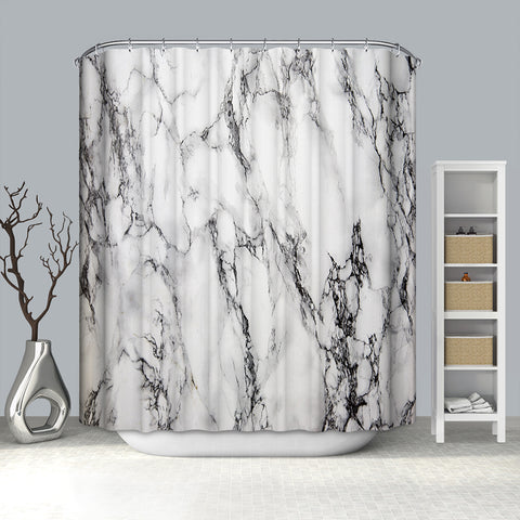 Black Cracked Lines White Marlbe Print Black and White Marble Shower Curtain