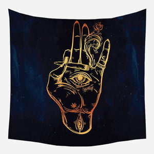 Black Gold Hippie Hamsa Hand of Smoke Tapestry