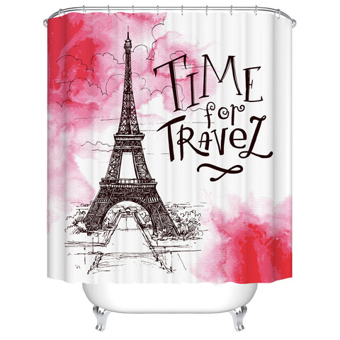 Black Red Drawing European Themed Eiffel Tower Travel Shower Curtain