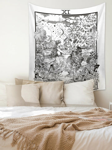 Black White Goddess Nike with Lion Strength Tarot Tapestry