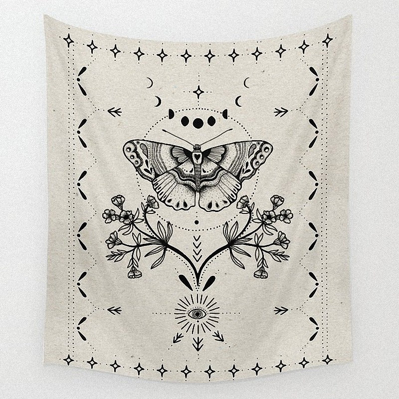 Black White Magical Moth Butterfly Tapestry