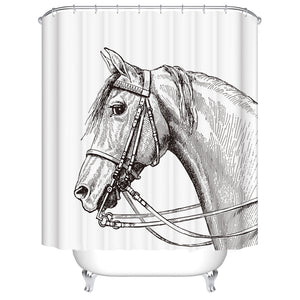 Black White Pencil Drawing Horse Shower Curtain