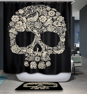 Black Backdrop Dia De Los Muertos Skull Shower Curtain