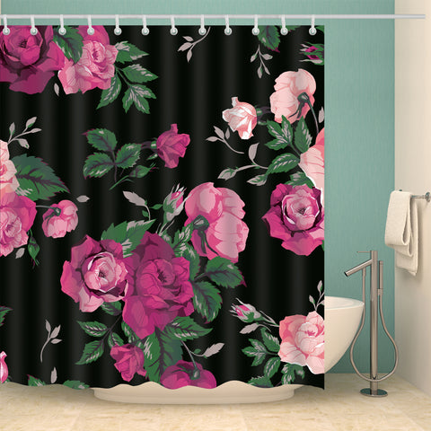 Black Backdrop Pink Rose Floral Shower Curtain