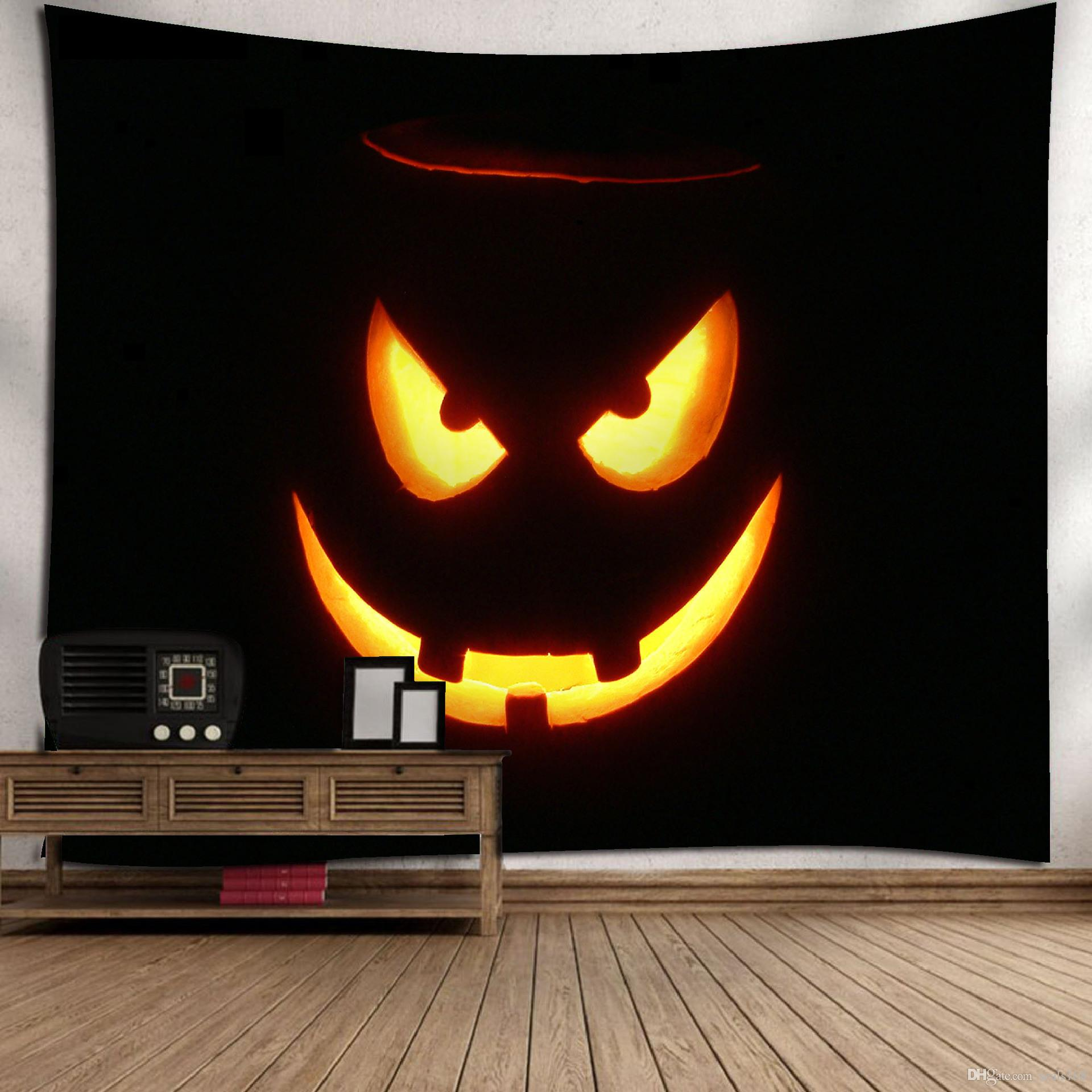Black Backdrop Pumpkin Face in Fire Halloween Tapestry