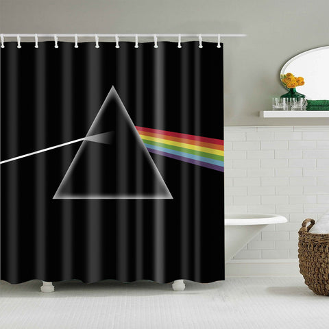 Black Backdrop Rainbow Color Triangle Prism Shower Curtain