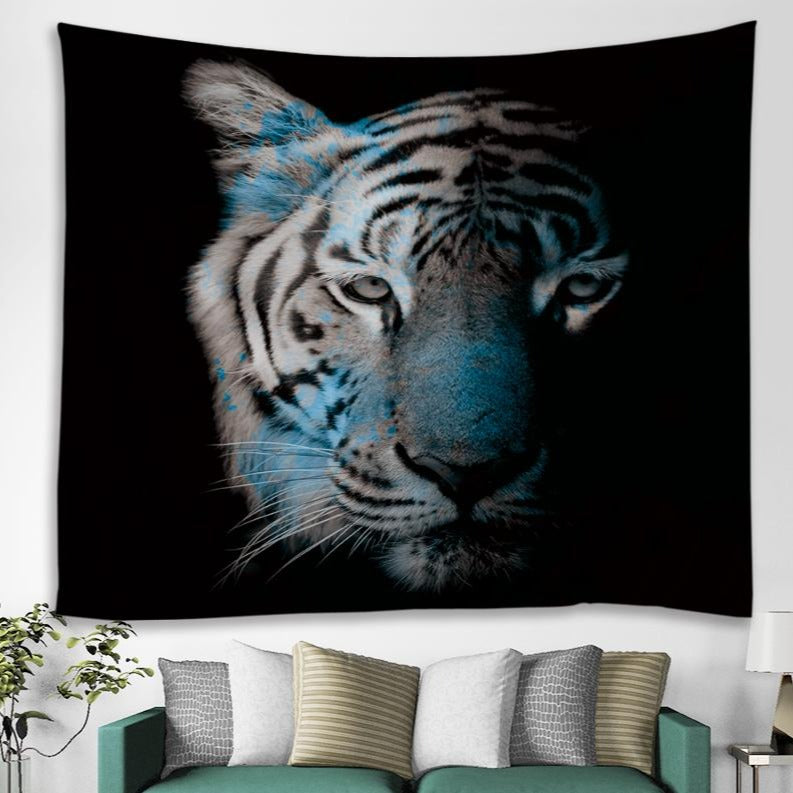 Black Backdrop White Tiger Print Tapestry
