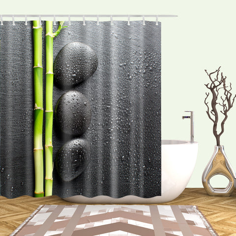 Black Backdrop Zen Stone Green Bamboo Shower Curtain