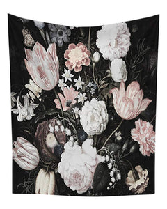 Black Blossoming Rose Tulip Flowers Tapestry
