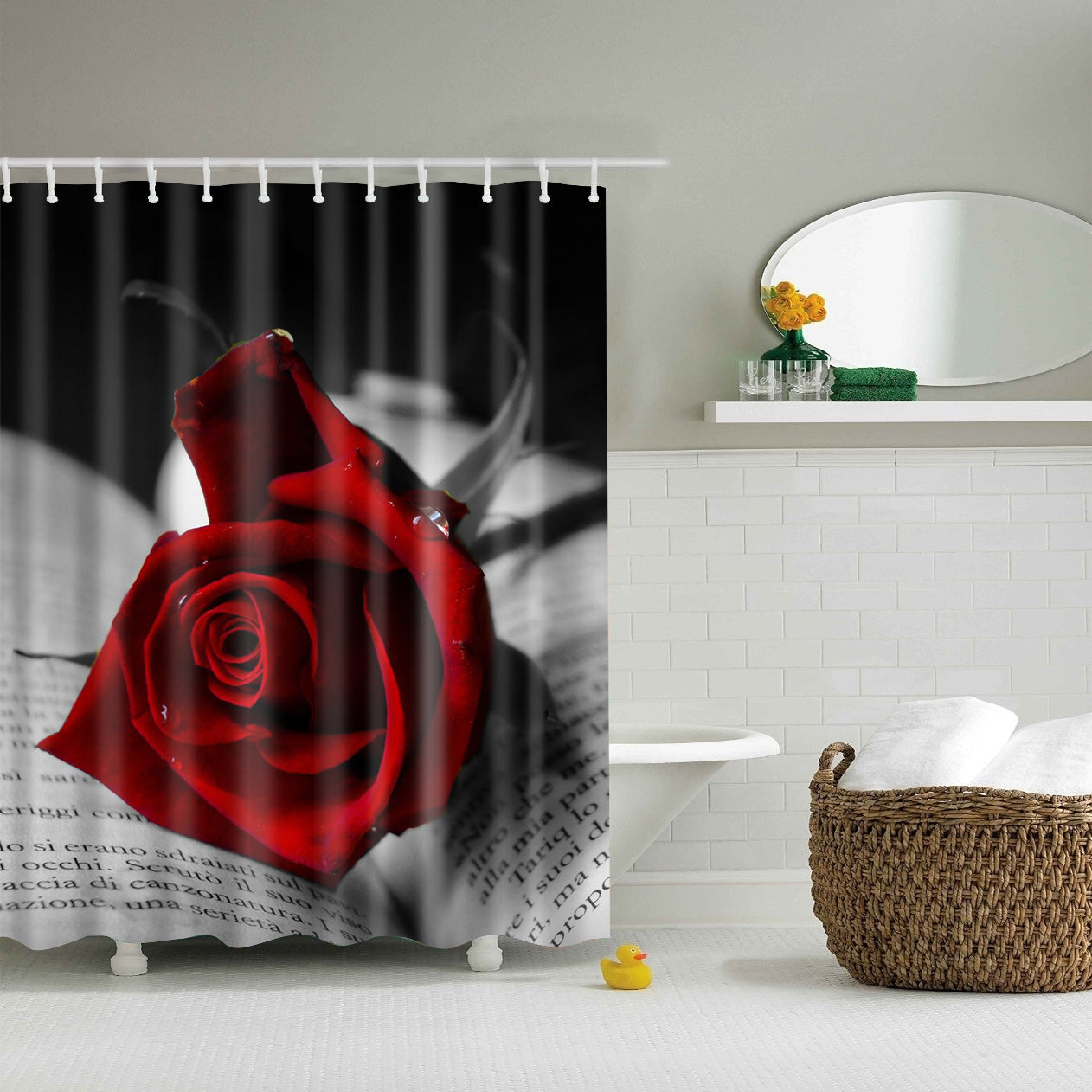 Black Book with Red Rose Shower Curtain | GoJeek