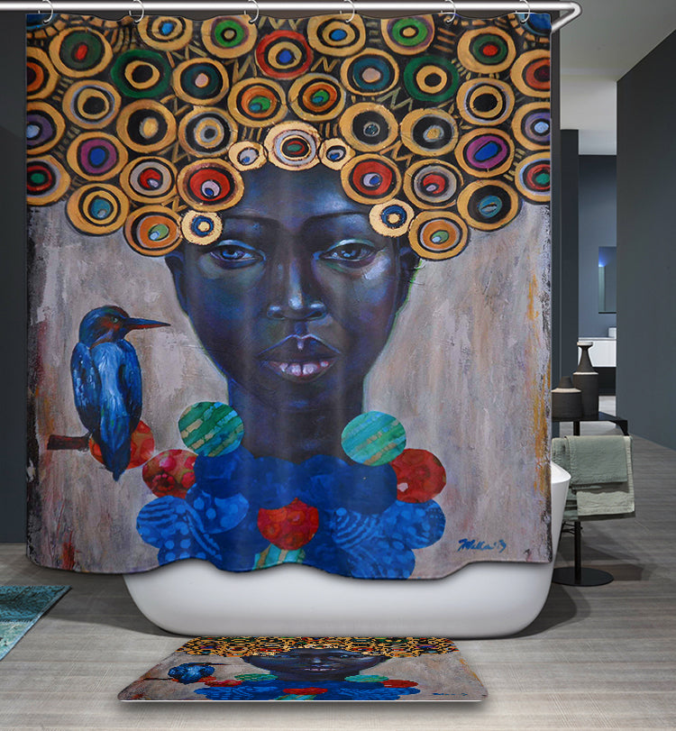 Black Contemporary Art African Girl Shower Curtain