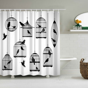 Black Domestic Canary Birdcage Shower Curtain