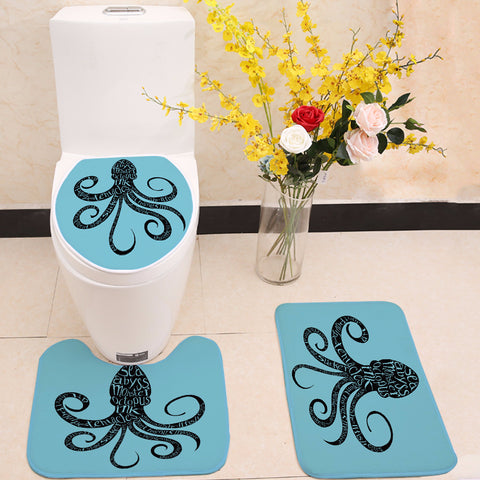 Black Ink Octopus with Quotes Toilet Seat Cover