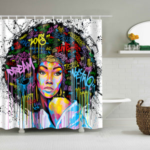 Black Love Afro Art Colorful Quote Hairstyle Shower Curtain