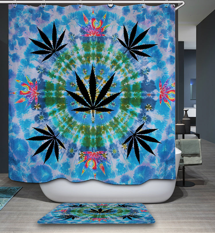 Black Maple Mandala Shower Curtain