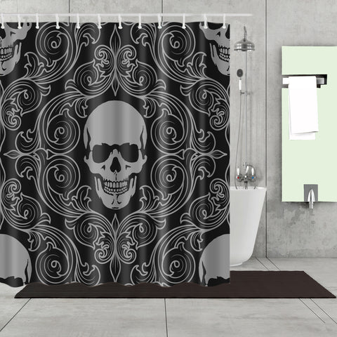 Black Sugar Skull Floral Pattern Shower Curtain