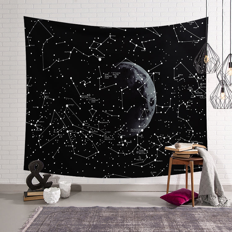 Black Universe Space Constellation Tapestry