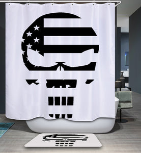 Black White American Flag Punisher Shower Curtain