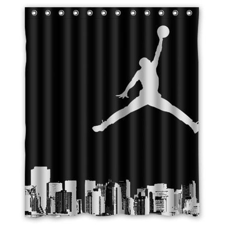 Black White Basketball Sport Air Jordan Shower Curtain
