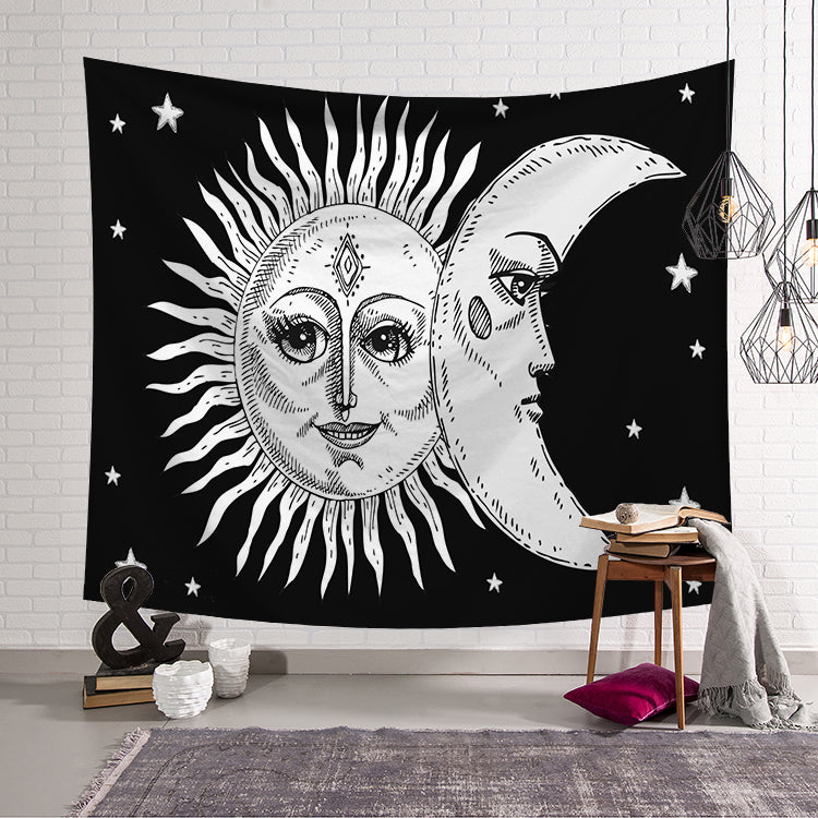 Black White Cilected Sun And Moon Face Tapestry