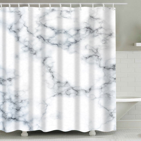 Black White Clear Marble Shower Curtain | GoJeek
