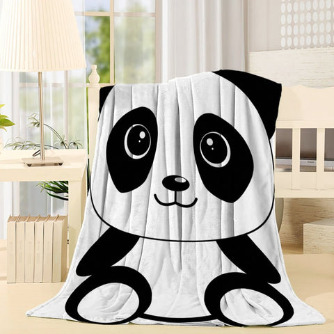 Black White Cute Panda Throw Blanket