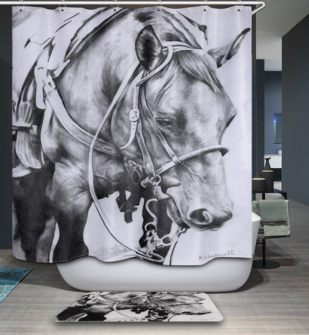 Black White Hand Drawing Realistic Horse Shower Curtain