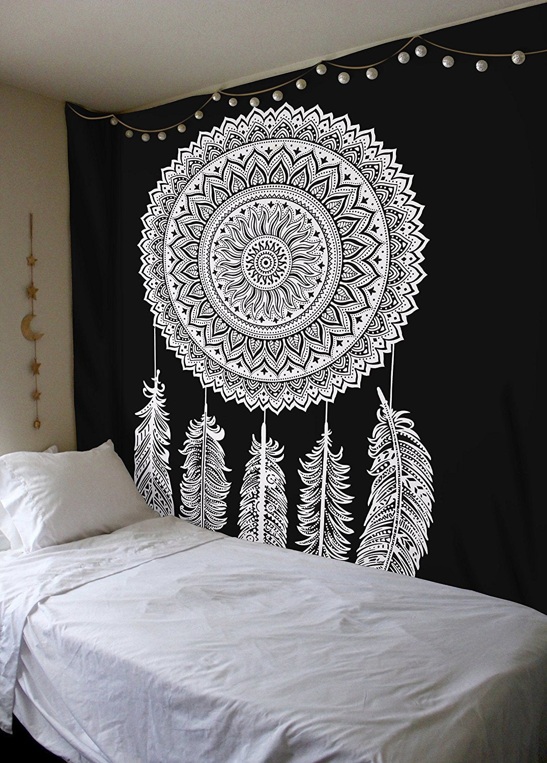 Black White Mandala Bohemian Dream Catcher Tapestry | GoJeek