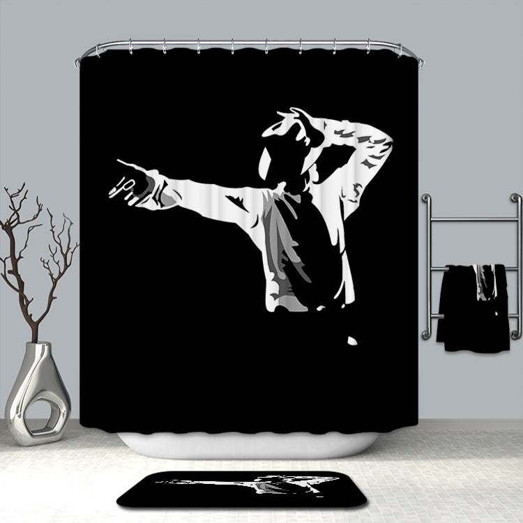 Black White Michael Jackson Shower Curtain