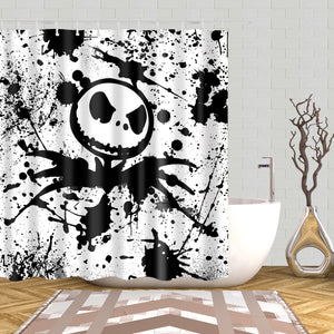 Black White Painting Jack Skellington Shower Curtain